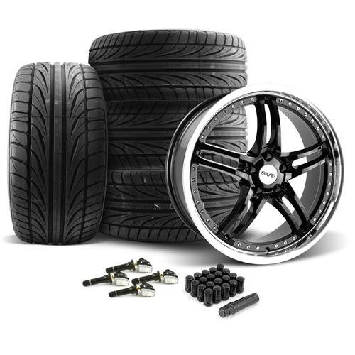 SVE Mustang Series 2 Wheel & Tire Kit - 20X8.5/10 Black w/ Machined Lip (15-16) Ohtsu