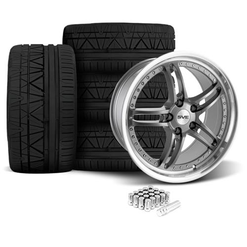 SVE Mustang Series 2 Wheel & Tire Kit - 20X8.5/10 Gun Metal w/ Machined Lip (05-14) Nitto Invo