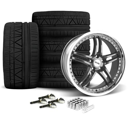 SVE Mustang Series 2 Wheel & Tire Kit - 20x8.5/10 Gun Metal w/ Machined Lip (15-16) Nitto Invo