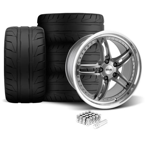 SVE Mustang Series 2 Wheel & Tire Kit - 20x8.5/10 Gun Metal w/ Machined Lip (05-14) Nitto NT05