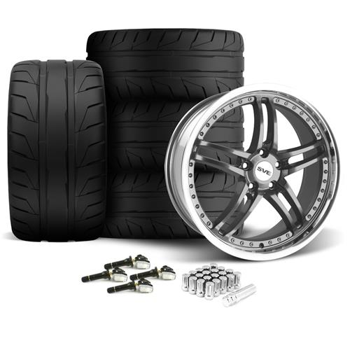 SVE Mustang Series 2 Wheel & Tire Kit - 20x8.5/10 Gun Metal w/ Machined Lip (15-16) Nitto NT05 - SVE Mustang Series 2 Wheel & Tire Kit - 20x8.5/10 Gun Metal w/ Machined Lip (15-16) Nitto NT05