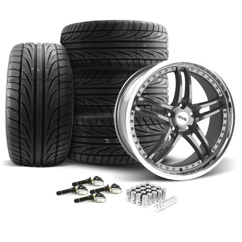 SVE Mustang Series 2 Wheel & Tire Kit - 20x8.5/10 Gun Metal w/ Machined Lip (15-16) Ohtsu
