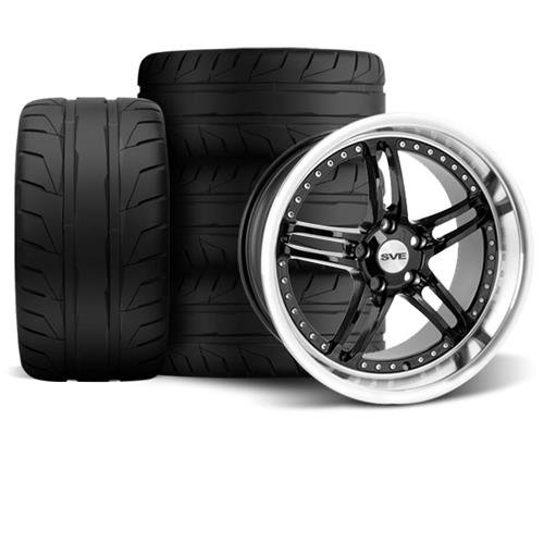 SVE Mustang Series 2 Wheel & Tire Kit - 18x9/10 Black w/ Polished Lip (94-04) Nitto NT05