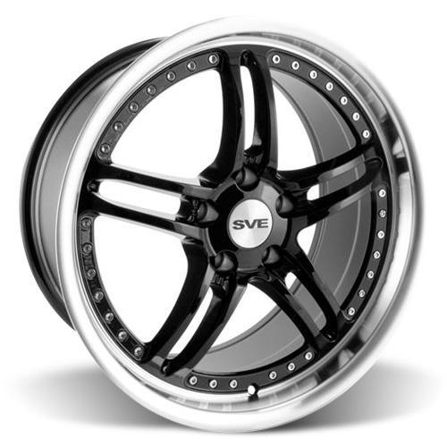 SVE Mustang Series 2 Wheel & Tire Kit - 18x9/10 Black w/ Polished Lip (94-04) Sumitomo ZII