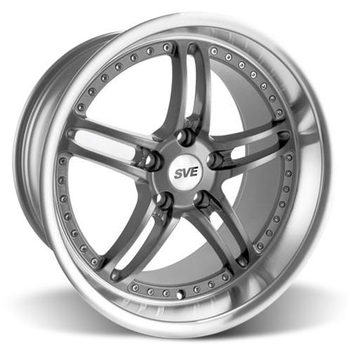 SVE Mustang Series 2 Wheel & Tire Kit - 18x9/10 Gun Metal w/ Machined Lip (94-04) Nitto NT555