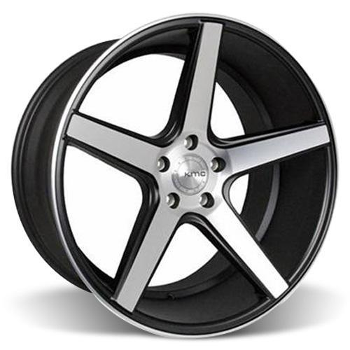KMC Mustang 685 District Wheel & Tire Kit - 20x8.5/10.5  Black w/ Machined Face (05-14) Nitto Invo