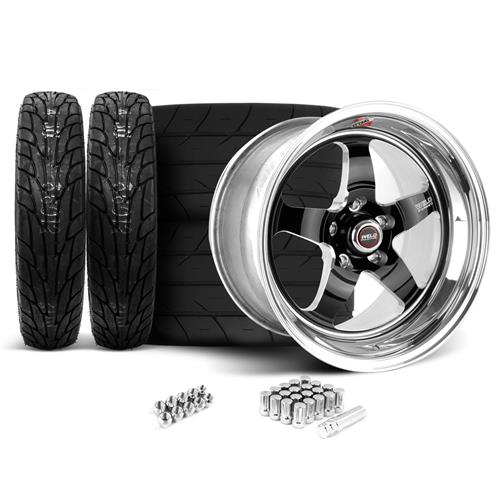 Weld Mustang RT-S Wheel & Tire Kit - 17x5/15x10 Black (94-04)