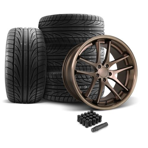 Rovos Mustang Cape Town Wheel & Tire Kit- 20x8.5/10  - Satin Bronze - Ohtsu Tires (05-14)