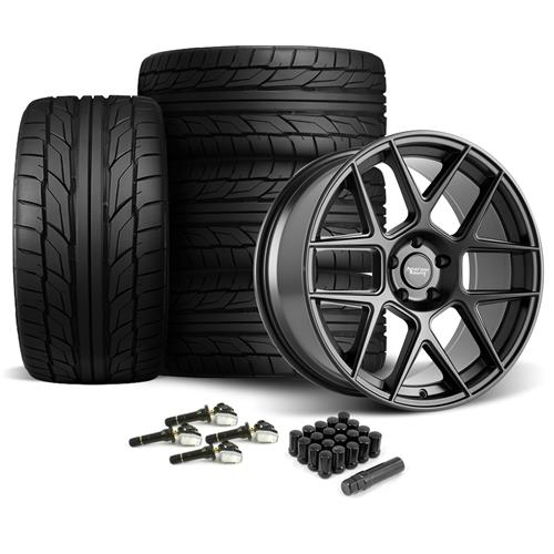 American Racing Mustang Apex Wheel & Tire Kit - 20x8.5/10  - Satin Black - G2 Tires (15-17)