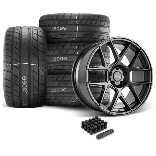 American Racing Mustang Apex Wheel & Tire Kit - 20x8.5/10  - Satin Black - M/T Street Comp Tires (05-14)