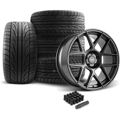 American Racing Mustang Apex Wheel & Tire Kit - 20x8.5/10  - Satin Black - Ohtsu Tires (05-14)