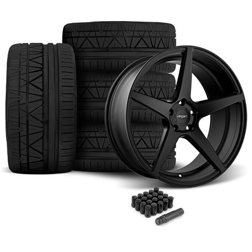 Velgen Mustang Classic5 Wheel & Tire Kit - 20x9/10.5  - Satin Black - Nitto Invo (05-14)