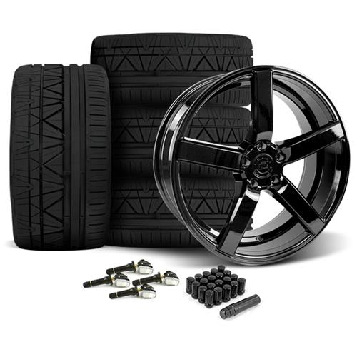 Mustang DF5 Wheel & Tire Kit - 20x8.5/10 Piano Black (15-16) Nitto Invo