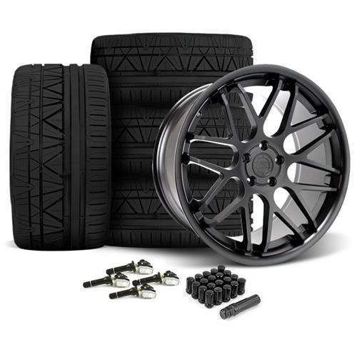 Mustang Downforce Wheel & Tire Kit - 20x8.5/10  Matte Black (15-16) Invo