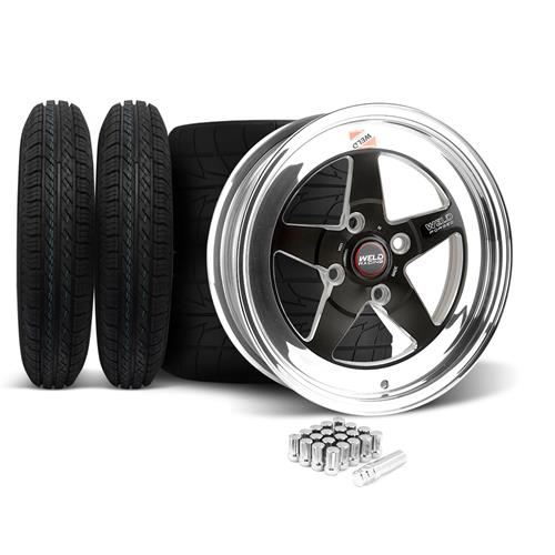 Weld Mustang RT-S Wheel & Tire Kit - 15x4/15x10 Black (79-93)