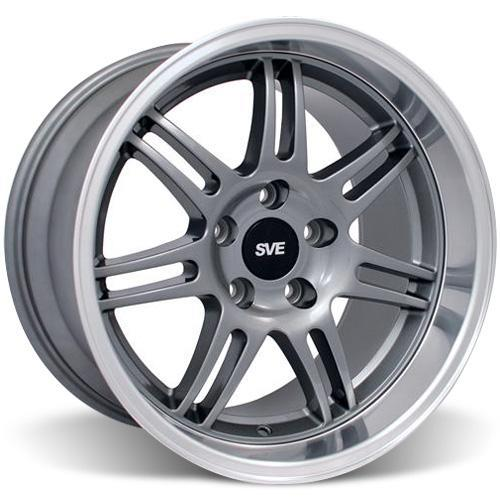 SVE Mustang Anniversary Staggered Wheel & Tire Kit Anthracite - 17x9/10 (94-04) Nitto NT555 - SVE Mustang Anniversary Staggered Wheel & Tire Kit Anthracite - 17x9/10 (94-04) Nitto NT555