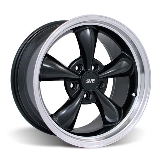 Mustang Staggered Bullitt Wheel & Tire Kit - 17x9/10.5 Black W/ Machined Lip (94-04) Nitto NT555
