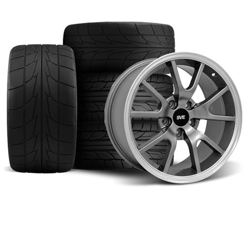 Mustang FR500 Wheel & Drag Radial Tire Kit - 17x9/10.5  - Anthracite - NT555R (94-04)
