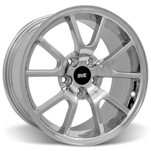 Mustang Staggered FR500 Wheel & Tire Kit - 17x9/10.5 Chrome (94-04) Sumitomo HTR Z