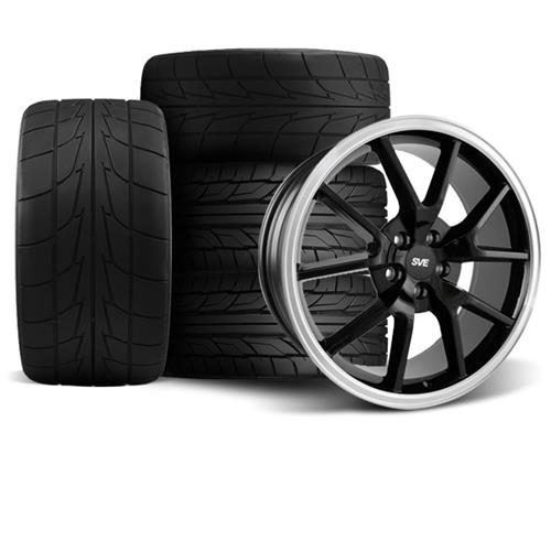 Mustang FR500 Wheel & Drag Radial Tire Kit - 17x9/10.5  - Black - NT555R (94-04)