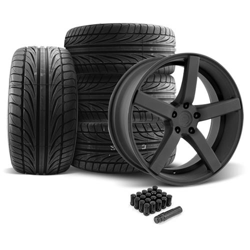Mustang DF5 Wheel & Tire Kit - 20x8.5/10 Flat Black (05-14) Ohtsu