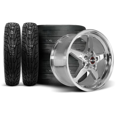 Race Star Mustang Drag Star Wheel & Tire Kit - 18x5/17x9.5  - Polished - M/T Tires (05-14)