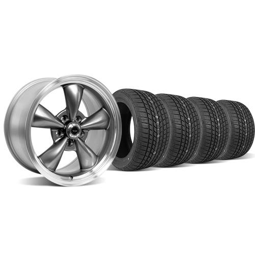 American Racing  Mustang Torque Thrust M Wheel & Tire Kit - 17x9 Anthracite (94-04) Sumitomo HTR Z